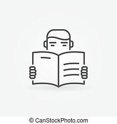 vector, lezende , pictogram