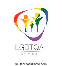 Vector LGBTQA family symbol. Pride flag background. Icon for...