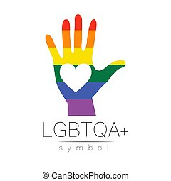 Vector LGBTQA logo symbol. Pride flag background. Icon for ...