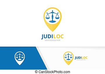 Vector libra and map pointer logo combination. Scales and gps locator symbol or icon. Unique law and pin logotype design template.