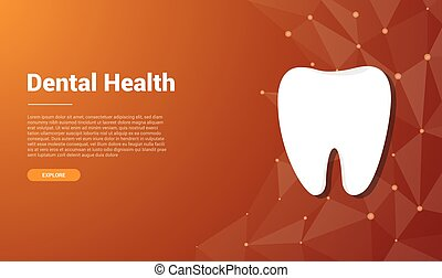vector, libre, dental, diseño, espacio, plantilla, bandera, humano, -, diente, texto
