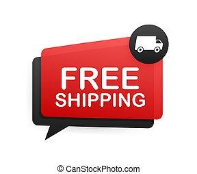 vector, libre, insignia, truck., shipping., illustrtaion., acción