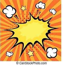 vector, libro, cómico, ilustración, explosión