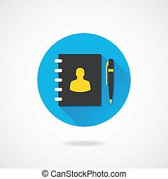 vector, libro de dirección, y, pluma, icono