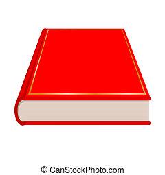 vector, libro, rojo
