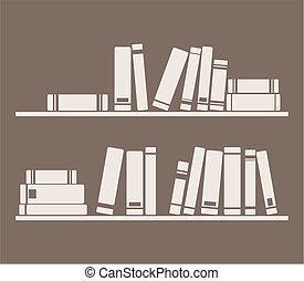 vector, libros, estantes