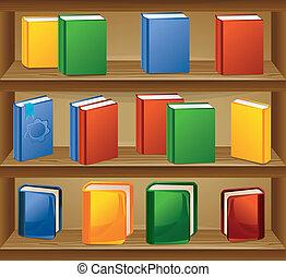 vector, libros, tienda, ebook