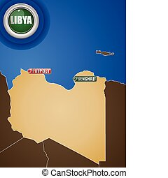 Libya War Map with Cities Tripoli and Benghazi - Vector - ...