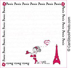 vector, liefde, card., paris.