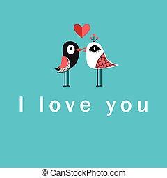 vector, liefdevogels, illustratie