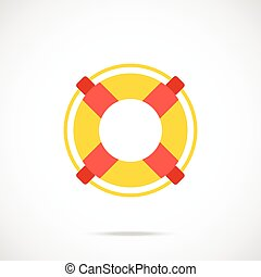 Vector lifebuoy icon. Flat design