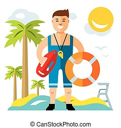 Vector Lifeguard. Flat style colorful Cartoon illustration.