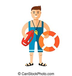 Vector Lifeguard. Flat style colorful Cartoon illustration....