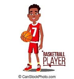 vector., lifestyle., norteamericano, niño, afro, ball., atleta, baloncesto, aislado, black., sano, caricatura, plano, jugador, ilustración, uniforme