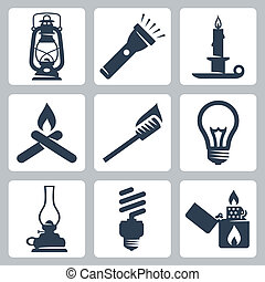 Vector light and lighting appliances icons set: lantern,...