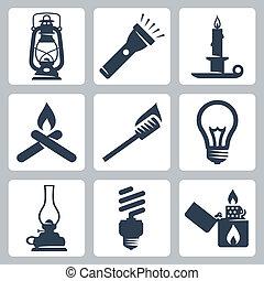 Vector light and lighting appliances icons set: lantern, ...
