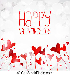 Vector light background with red hearts