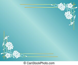 vector light blue card with flowers and gradient