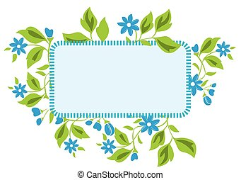 vector light blue frame with flora