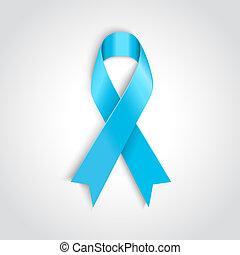 Light blue ribbon as symbol of prostate cancer - Vector...