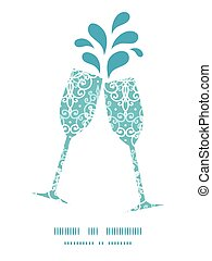 Vector light blue swirls damask toasting wine glasses silhouettes pattern frame