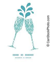 Vector light blue swirls damask toasting wine glasses silhouettes pattern frame