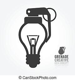 Vector light bulb distortion from grenade concept of...