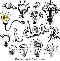 Vector light bulb Doodle hand drawn