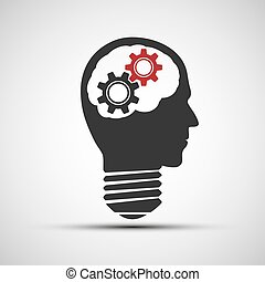 Vector light bulb icon in the shape of the head with mechanical