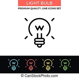 Vector light bulb icon. Thin line icon