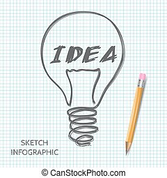 Vector light bulb icon with concept of idea.