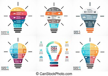 Vector light bulb infographic. Template for circle diagram,...