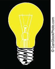 vector light bulb on black background