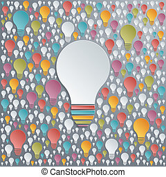 Vector light bulbs. Creativity and cooperation concept.
