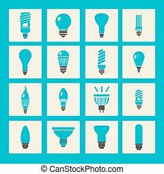 vector light bulbs icon set
