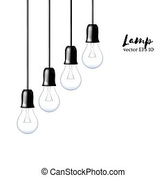 Vector Light bulbs isolated in diagonal line. Realistic style lamps.