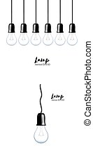 Vector Light bulbs isolated in line. Realistic style lamps.