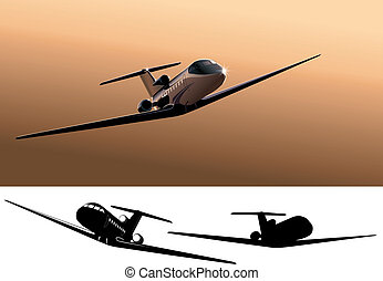 commercial jet - Vector light commercial jet. Available EPS-...