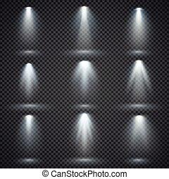 Vector light sources, concert lighting, stage spotlights set