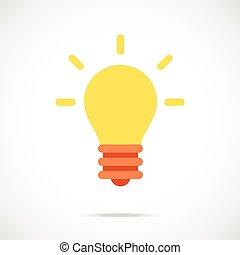 Vector lightbulb icon. Flat icon