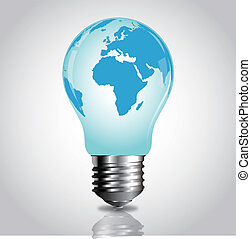 vector lightbulb with world map