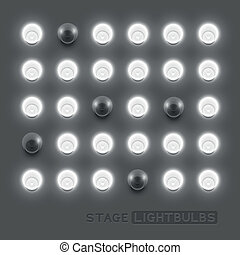 Vector stage light bulbs. Vector illustration.
