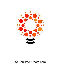 Vector lightbulbs with line, dots and beam logo. New idea symbol, colorful logotypes. Flat abstract bright cartoon bulb. White, black, orange colors sign. Idea circle icon