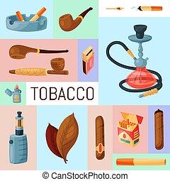 vector, lighters., tabaco, tabaco, accesorios, ceniceros, cigarrillos, illustration., cigarros, narguile, tubos, cigarro, hojas, fumar, conjunto