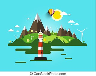 Vector Lighthouse Illustration. Flat Design Nature Scene. Ocean or Sea Landscape with Mountains and Wind Mills on Island.