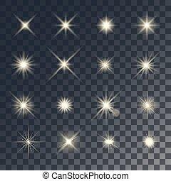 Vector lighting effects. Set of golden glints on transparent...
