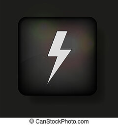 Vector lightning bolt icon on black. Eps10