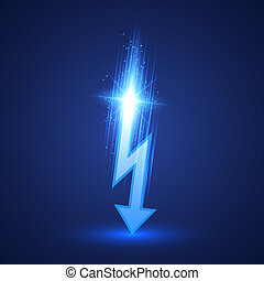 Vector Lightning Bolt - Vector lightning bolt on dark...