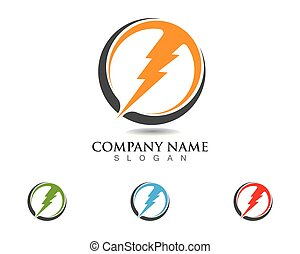 Vector lightning icon logo and symbols