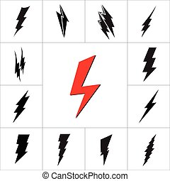 Vector lightning silhouette. Lightning Bolt icon. - Vector...